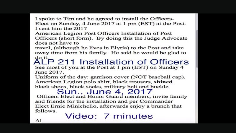 Video:  7 minutes ~~  ALP 211 Installation of Officers, Sun., June 4, 2017