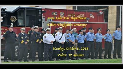 Avon Lake Fire Department Fallen Firefighters Ceremony, Monday, Oct. 8, 2018