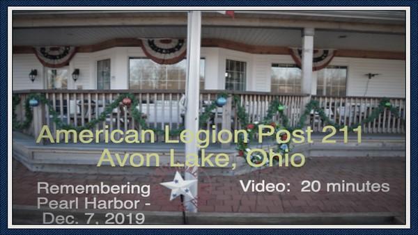 Video:  20 mins - Pearl Harbor Remembrance, American Legion Post 211, 12-7-2019