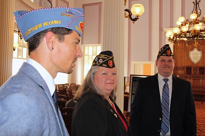 L-R: Will Hayes, Commander, Sons of The American Legion Squadron 555, Anita Bennett, Post 2nd Vice Commander, David Coram, Jr., Post Trustee