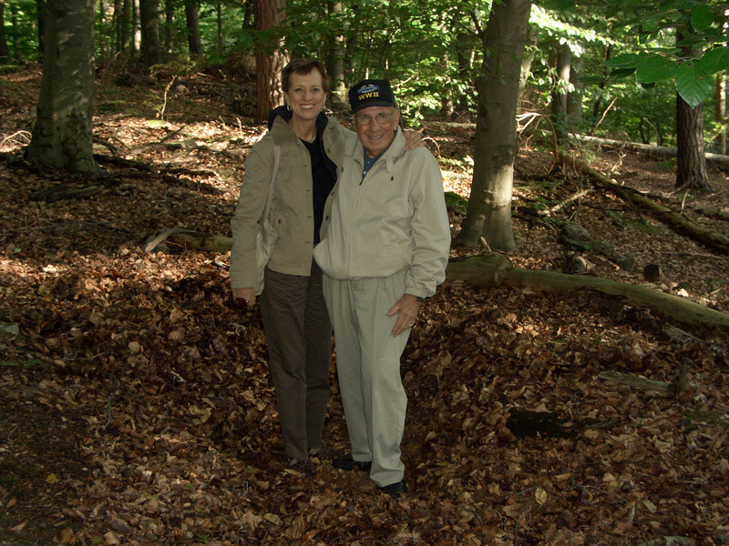 Fred Carmichael (F-347) and Janet Moffit-Dahlke (daughter of Cpt. Dahlke, F-347)  in a foxhole (A-347)