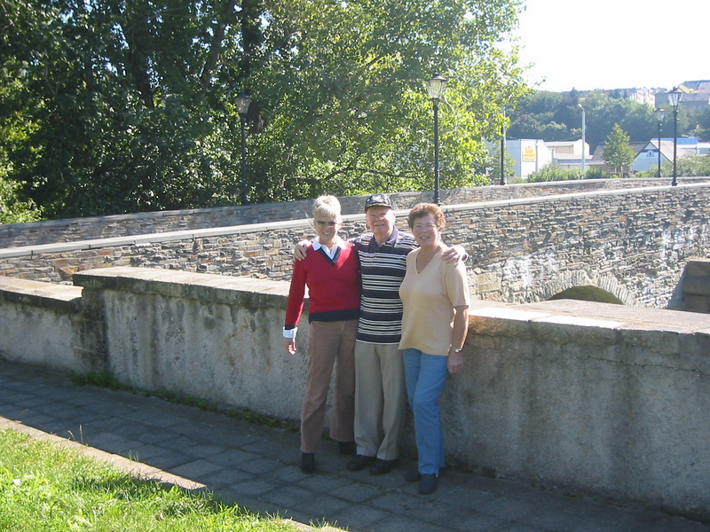 Gayla and Tom Stafford with Christel Halle (Gayla's aunt) by the Elster Bridge,