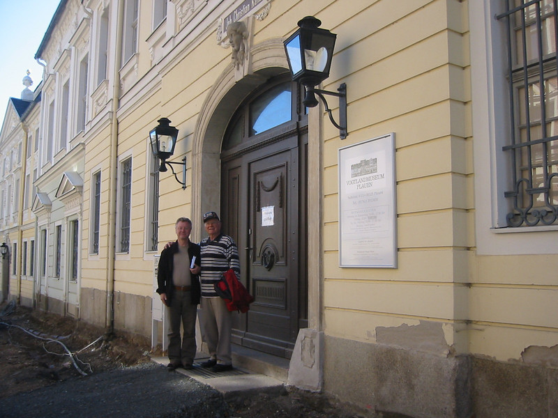 The Director of the Plauen Museum and Tom Stafford in front of the Museum