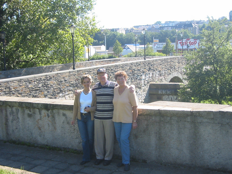 Petra Pieper (Gayla's sister), Tom Stafford and Christel Halle by the Elster Bridge