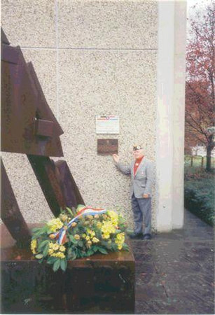 "John McAuliffe; M-347 at the Wasserbillig, Luxembourg plaque.<br /> OCTOBER - 1994<br /> <br /> ""In Honor of The Valient Soldiers of the 87th Infantry Division who liberated the town of Wasserbillig, Luxembourg on January 23, 1945.""<br /> <br /> Dedicated by <br /> Centre Etude Battaile Ardennes<br /> ( C.E.B.A. )<br /> The Center for the Study of the Battle of the Ardennes is the study group in Luxembourg."