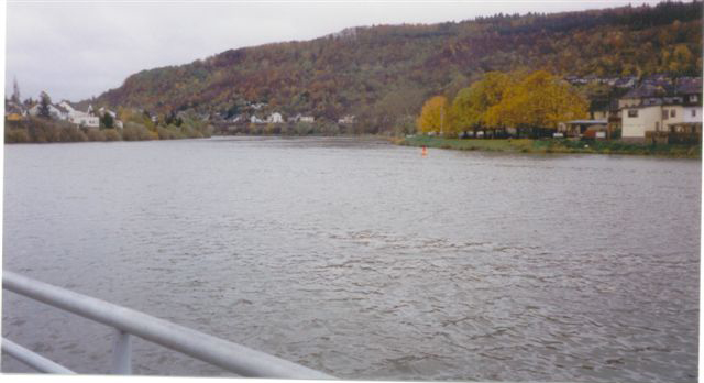 View of Germany across the Moselle River from Wasserbillig, Luxumbourg.<br /> <br /> Wasserbillig is at the confluence of the SAUER and MOSELLE Rivers....<br /> <br /> Wasser meaning 'Water' and Billig meaning 'troubled'.<br /> (Guess is why - the waters there are 'troubled').....or turbululent...?