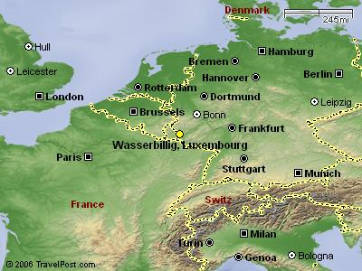 WASSERBILLIG, LUXEMBOURG - MAP<br /> <br /> Wasserbillig is at the confluence of the SAUER and MOSELLE Rivers....<br /> Wasser meaning 'Water' and Billig meaning 'troubled'.