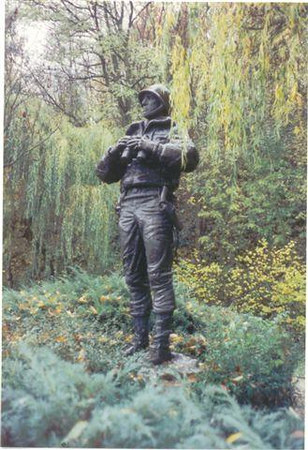 Statue of Gen. George S. Patton <br /> 3rd US ARMY <br /> at Ettlebruck Park, Luxembourg. <br /> <br /> There is also a Sherman Tank here....<br /> There is a duplicate of the Patton statue at West Point, NY.