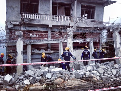 Demolition Crews in Sindhupalchowk. December 2015.