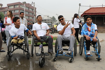 Top Male Finishers at the 5K Wheelchair Race, Jawalakhel, Kathmandu. April 2016