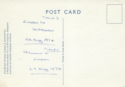 British Airways Trident 3 & 2  to Gibraltar 22 - 29 Aug 1974