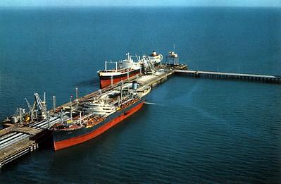 Kazimah, First Kuwaiti Oil Tanker & Failaka, a Gulf Oil Corporation Tanker, alongside the North Pier