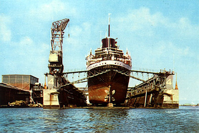 ms Congokust in Prins Hendrik drydock at the ADM yard, Amsterdam pre 1971. A freighter that sailed for HWAL, Holland West Africa Line. 1953 - 1970