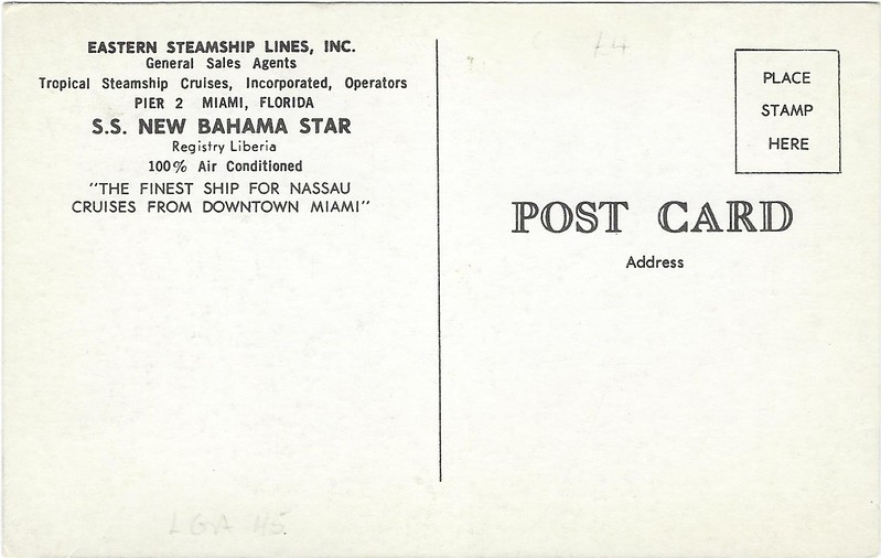 ss NEW BAHAMA STAR Eastern Steamship Lines 1957 JERUSALEM Zim-002