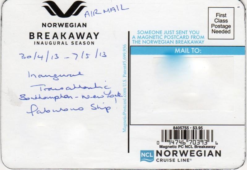 NORWEGIAN BREAKAWAY Magnetic Postcard Inaugural Season 2013-001