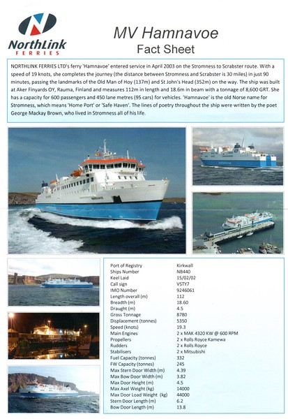 mv HAMNAVOE Fact Sheet 2012