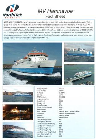 mv HAMNAVOE Fact Sheet 2012