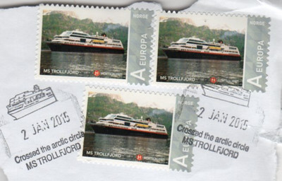 TROLLFJORD Stamps Crossed the Arctic Circle Frank Jan 2015