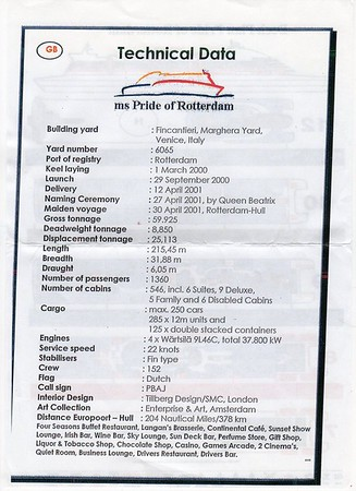 PRIDE OF ROTTERDAM Technical Data