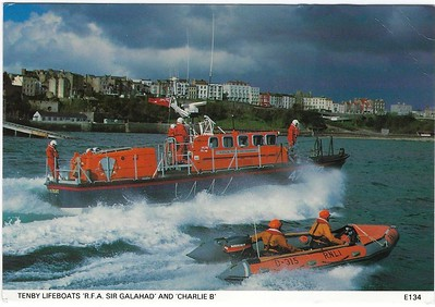 Tenby Lifeboats Tyne Class 47-010 RNLB RFA SIR GALAHAD & D-315 CHARLIE B mid 90s