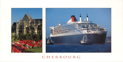 QM2 Cherbourg possibly Maiden Arrival