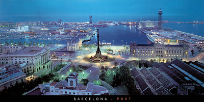 Port of Barcelona Night before Eurostars Grand Marina Hotel