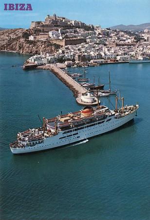 Trasmed vessels Ciudad de Barcelona [1956], and Santa Maria de la Caridad or her sister Santa Maria de la Paz [1967]. Card dated c1978