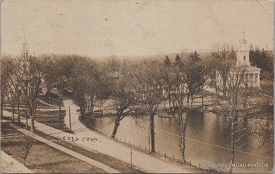 Postcard-USA-milford-connecticut-ellie-russo-benefico+scan FF680W downtown river street churches RPPC 1909 AUG -001