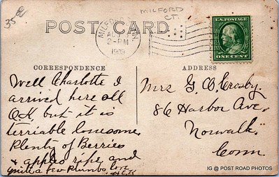 Postcard-USA-milford-connecticut-ellie-russo-benefico+scan FF680W downtown river street churches RPPC 1909 AUG -0000