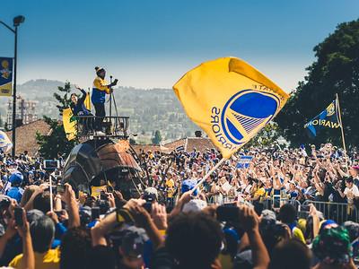 Libby Schaaf, MC Hammer, Golden State Warriors Parade, Oakland, CA
