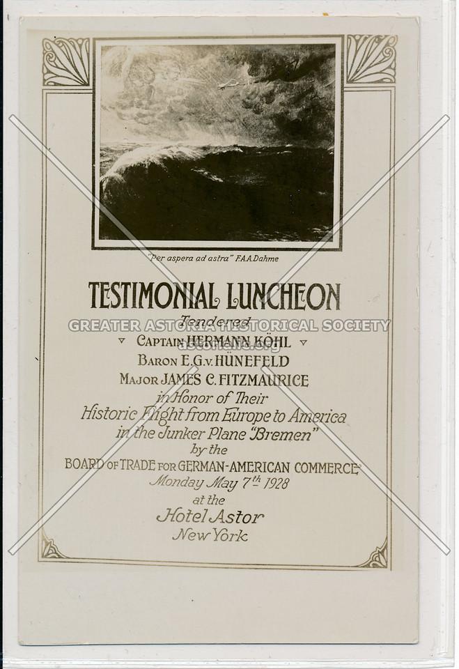Testimonial Luncheon, Hotel Astor, New York