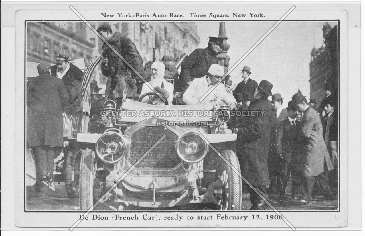 New York-Paris Auto Race, Times Square, New York, De Dion (French Car)
