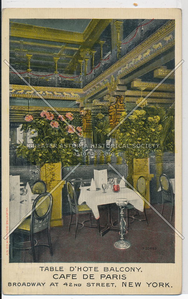 Table D'Hote Balcony, Cafe De Paris, Broadway At 42nd Street, New York