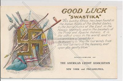 "Good Luck ""Swastika"" The American Credit Association, New York and Philadelphia"