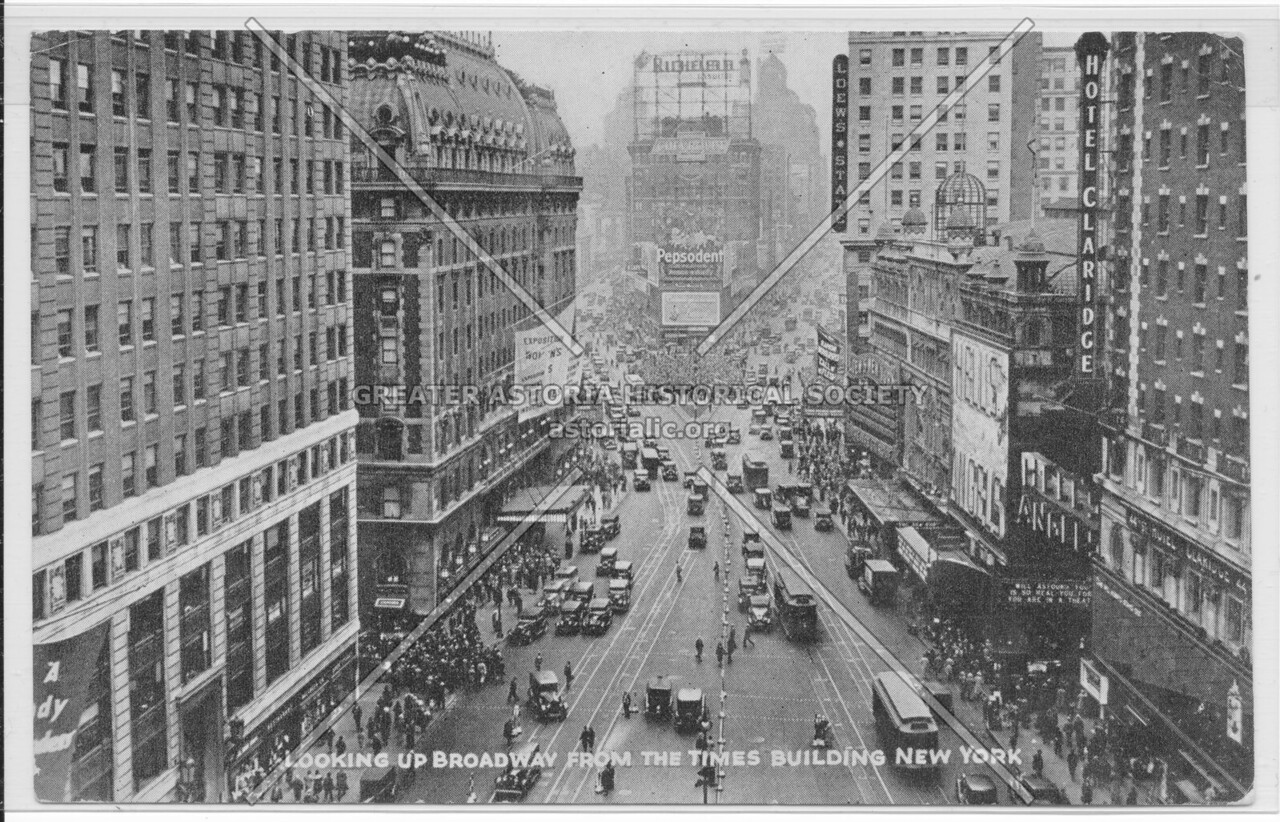 Looking Up Broadway From The Times Building, New York