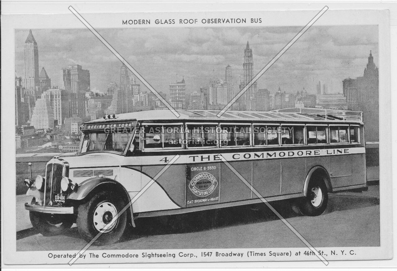 Modern Glass Roof Observation Bus, Operated by The Commodore Sightseeing Corp.