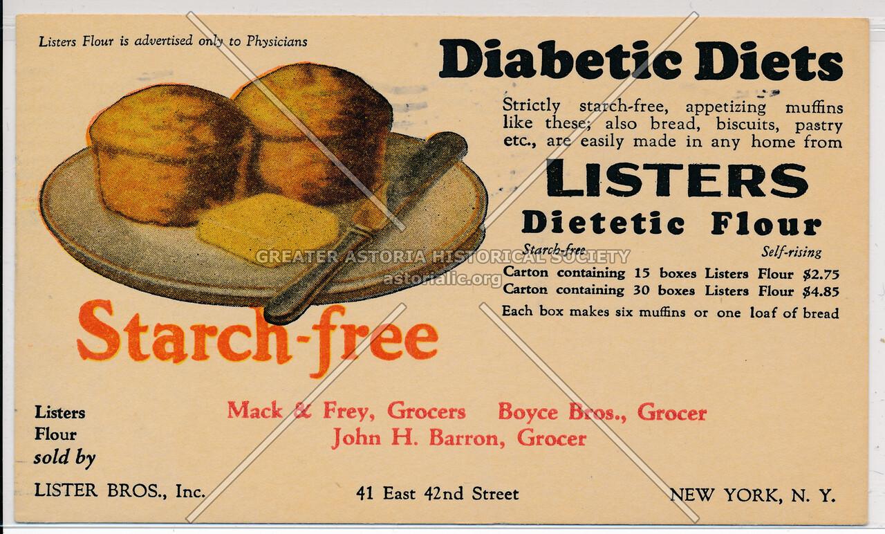 Diabetic Diets, Starch- free, Listers Dietetic Flour