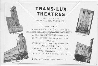 Trans-Lux Theatres, All The News From All The Newsreels, New York