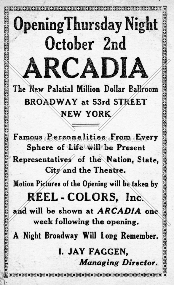 Opening Thursday Night, October 2nd: Arcadia Broadway at 53rd Street (card back)