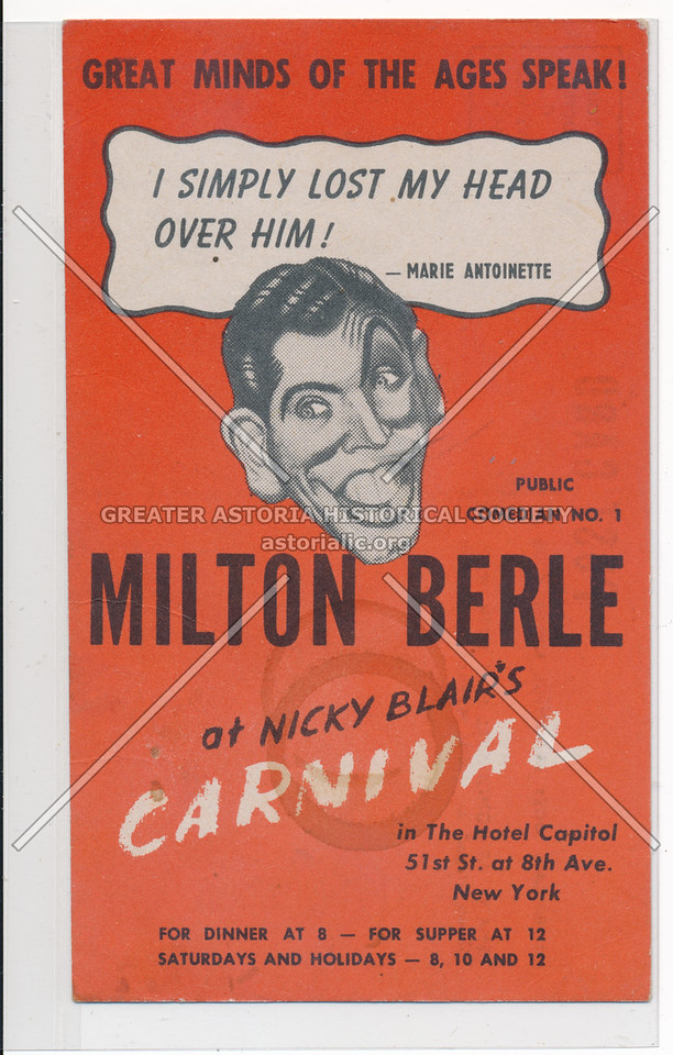 Milton Berle at Nicky Blair's Carnival in The Hotel Capitol