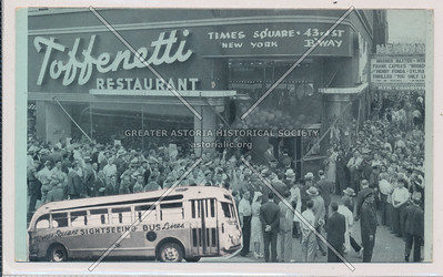 Sightseeing Bus in front of Toffenetti Restaurant, Times Square, 43rd St., B'way, New York
