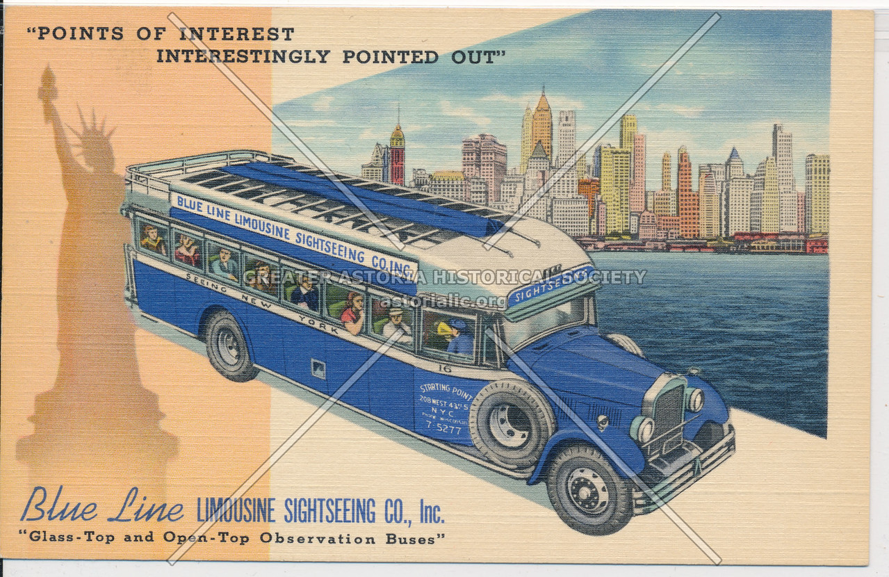 """""""Points Of Interest Interestingly Pointed Out"""" Blue Line Limousine Sightseeing Co., Inc."""