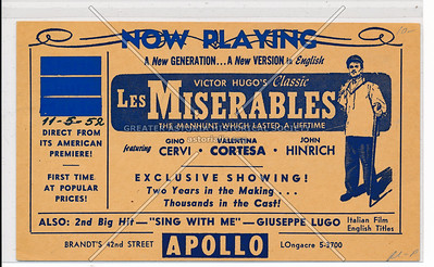 Victor Hugo's Classic Les Miserable at the Apollo, Brandt's 42nd St (front)