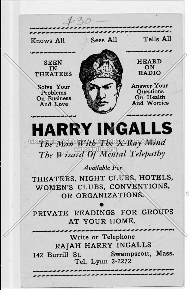 Harry Ingalls, The Man With The X-Ray Mind, The Wizard Of Mental Telepathy
