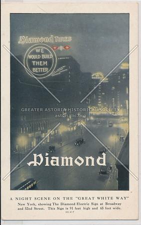 "Diamond Tires, A Night Scene On The ""Great White Way"""