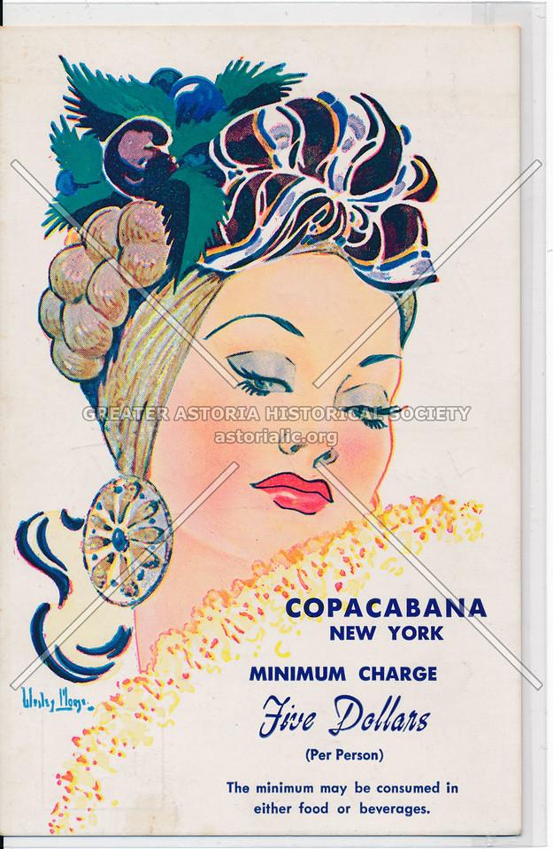 Copacabana, New York, Minimum Charge $5.00