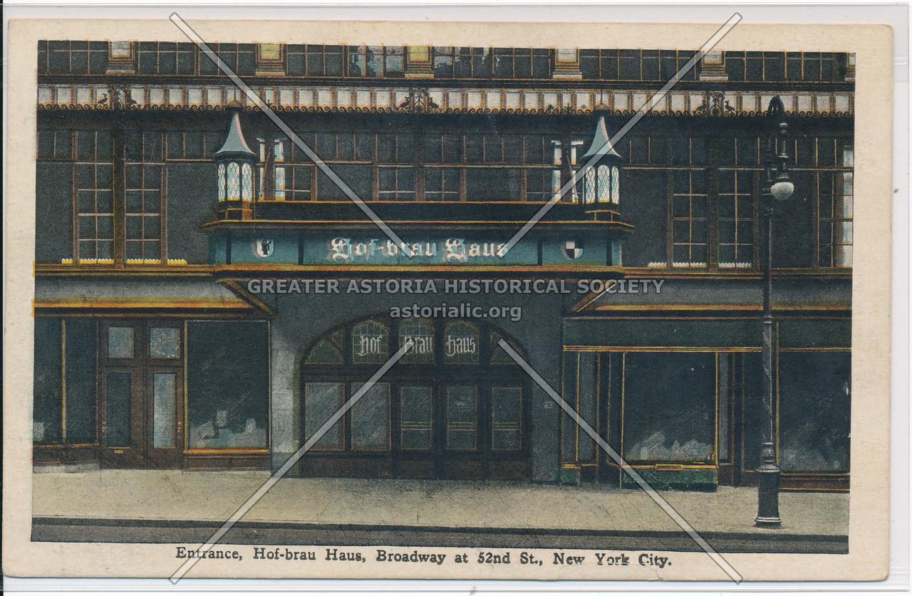 Entrance, Hof-brau Haus, Broadway at 52nd St., New York City