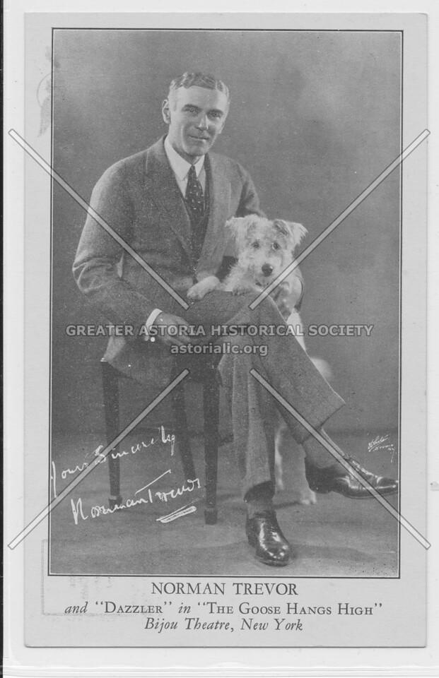 """Norman Trevor and """"Dazzler"""" in """"The Goose Hangs High"""" Bijon Theatre, New York"""