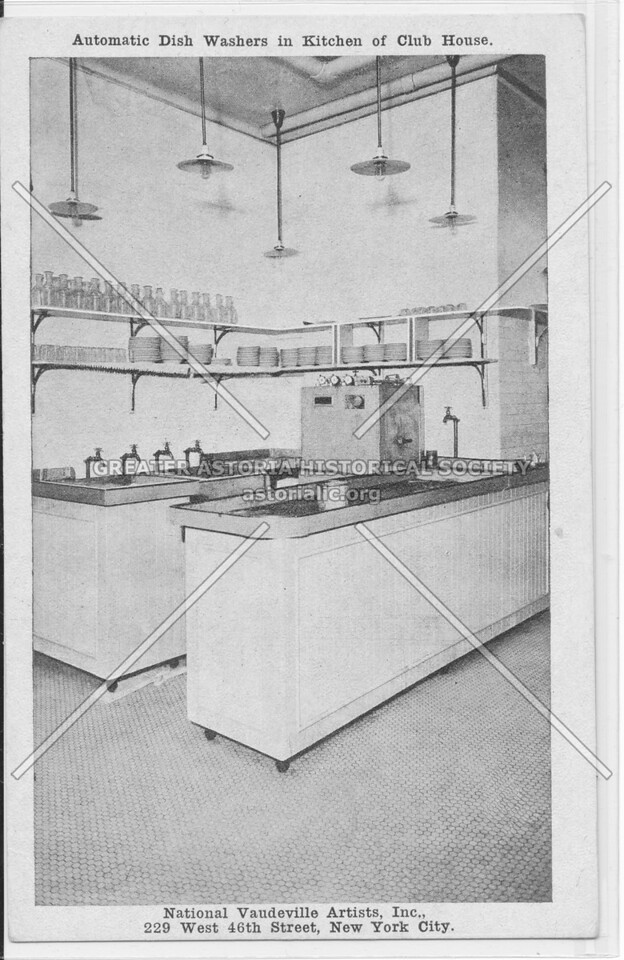 Automatic Dish Washers in Kitchen of Club House, National Vaudeville Artists, Inc.