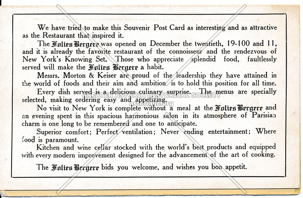 The Folies Bergere bids you welcome, and wishes you bon appetit.